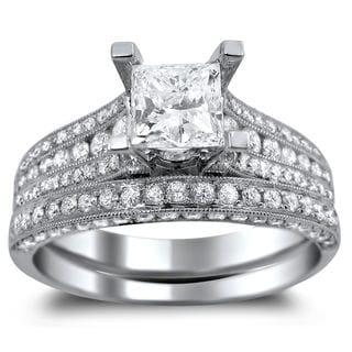 Noori 14k White Gold 2 1/10ct TDW Princess-cut Diamond Engagement Ring Bridal Set