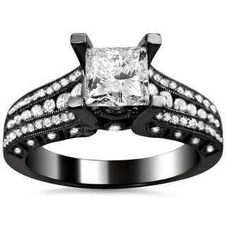 Noori 14k Black Gold 1 1/2ct TDW Clarity Enhanced Princess Diamond Ring