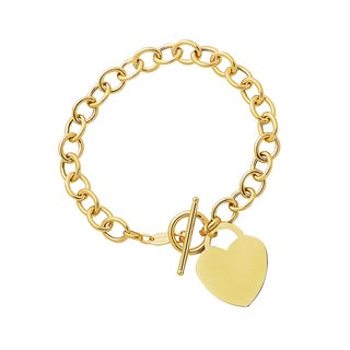 14K Yellow Gold Heart Charm Toggle Bracelet