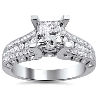 Noori 14k White Gold 1 1/2ct TDW Princess Cut Clarity Enhanced Diamond Engagement Ring