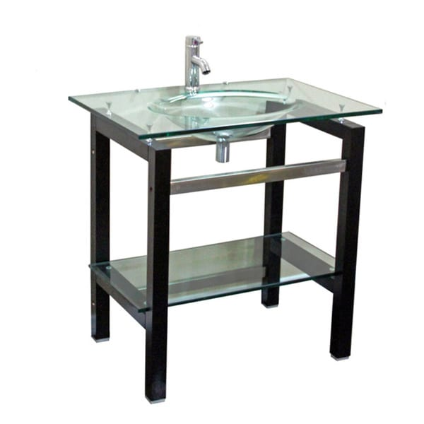 Shop Kokols Tempered Glass Table Top Bathroom Sink Combo With Wood Shelf Free Shipping Today