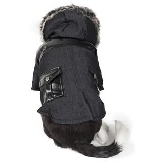 Pet Life Ruff-choppered Denim Pet Coat