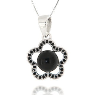 Pearlz Ocean Black Onyx and Black Spinel Sterling Silver Pendant Necklace