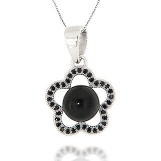 Pearlz Ocean Black Onyx and Black Spinel Sterling Silver Pendant Necklace Jewelry for Womens
