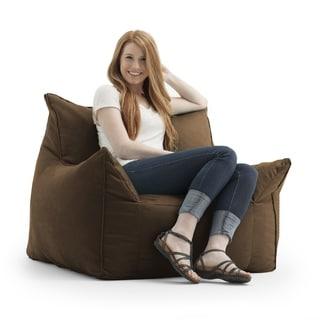 FufSack Memory Foam Imperial Brown Microfiber Bean Bag Lounge Chair