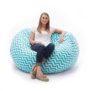FufSack Memory Foam Zig Zag Blue 7-foot XXL Bean Bag Lounge Chair