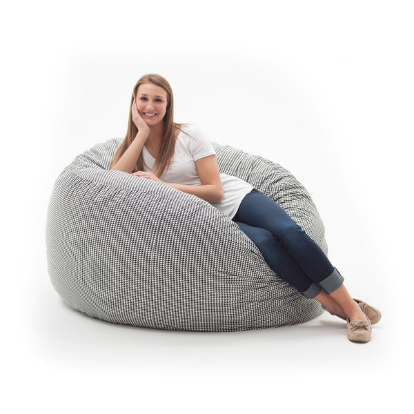 Fufsack Memory Foam Houndstooth Black 4 Foot Large Bean Bag Lounge Chair