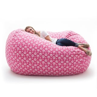 FufSack Memory Foam Peace Sign Pink 7-foot XXL Bean Bag Lounge Chair