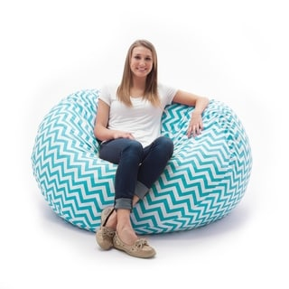 FufSack Memory Foam Zig Zag Blue 4-foot Large Bean Bag Lounge Chair