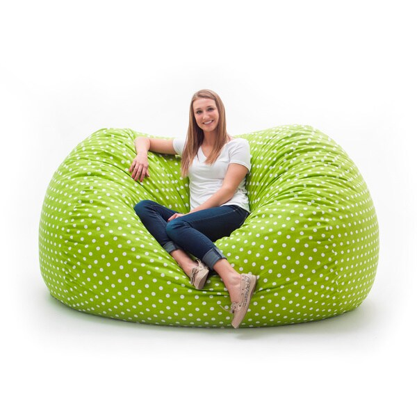 Shop Fufsack Memory Foam Polka Dot Green 7 Foot Xxl Bean