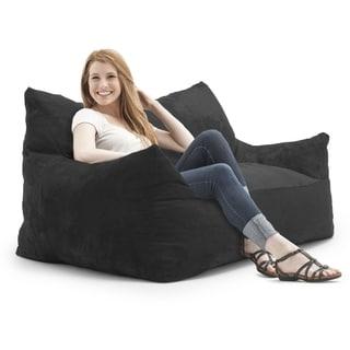 FufSack Memory Foam Imperial Loveseat Black Microfiber 5-foot Bean Bag