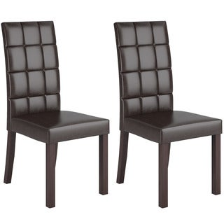 CorLiving Atwood Dark Brown Leatherette Dining Chairs (Set of 2)