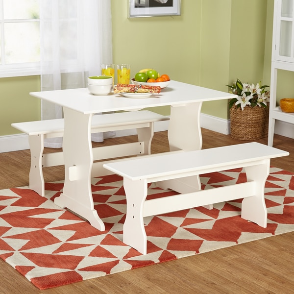 One Dining Room Three Different Ways: Shop Simple Living Leah Antique White 3-piece Dining Set