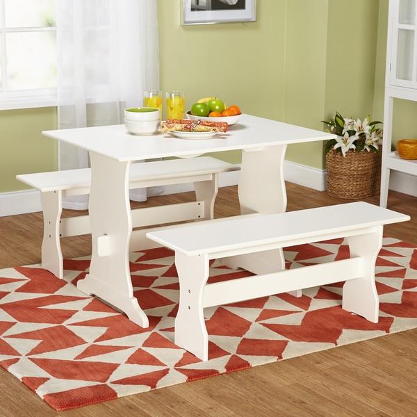 Simple Living Leah Antique White 3-piece Dining Set