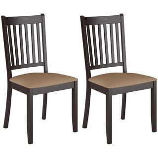 CorLiving Atwood Cappuccino Stained Dining Chairs with Microfiber Seat (Set of 2)