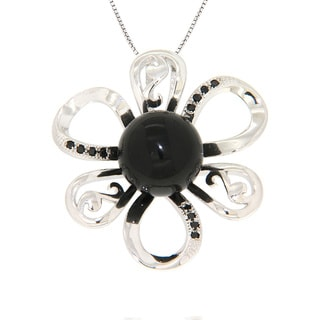 Pearlz Ocean Black Onyx and Black Spinel Sterling Silver Flower Pendant