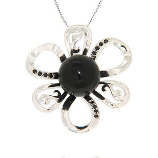 Pearlz Ocean Black Onyx and Black Spinel Sterling Silver Flower Pendant Jewelry for Womens