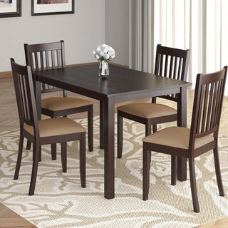 CorLiving Atwood 5 Piece Cappuccino Dining Set With Beige Microfiber Seats
