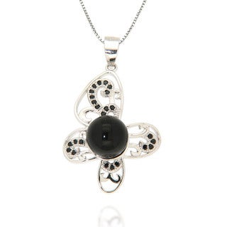 Pearlz Ocean Black Onyx and Black Spinel Sterling Silver Flower Pendant Necklace