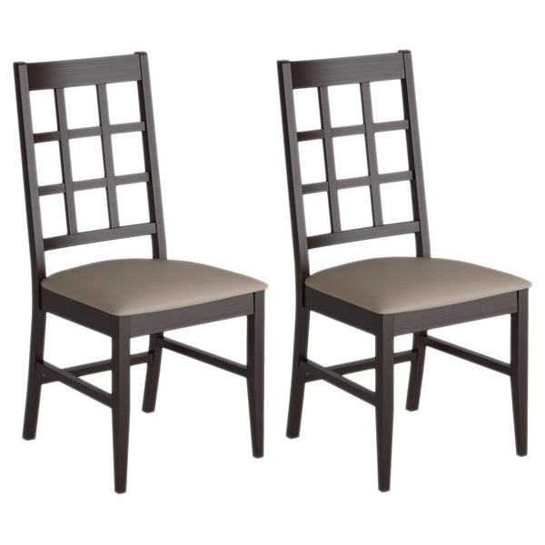 CorLiving Cappuccino Dining Chairs with Leatherette Seat (Set of 2)