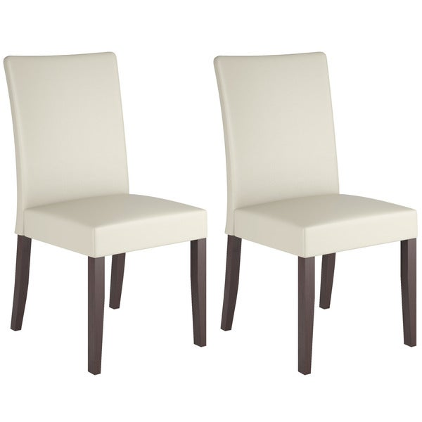Corliving Atwood Cream Leatherette Dining Chairs Set Of 2