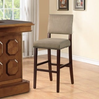 Linon Holcombe Stationary Wood Bar Stool, Rustic Nail Head Trim