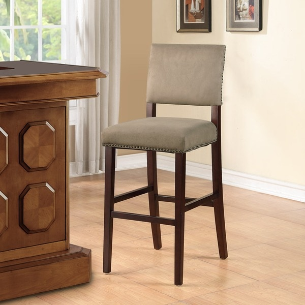 Linon Holcombe Brown Stationary Wood Bar Stool With Rustic Nail Head Trim