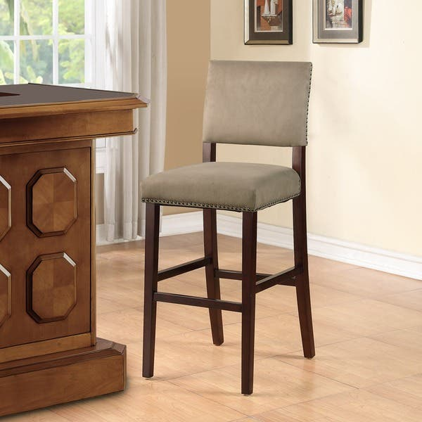 Linon Holcombe Brown Stationary Wood Bar Stool With