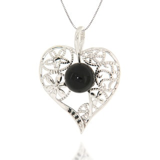 Pearlz Ocean Black Onyx and Black Spinel Sterling Silver Heart Pendant Necklace