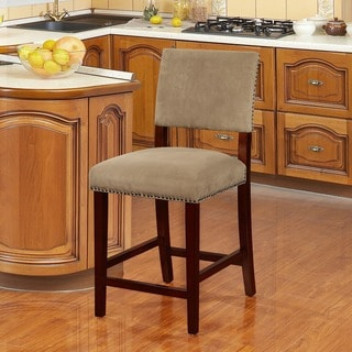 Linon Holcombe Stationary Wood Counter Stool, Rustic Nail Head Trim