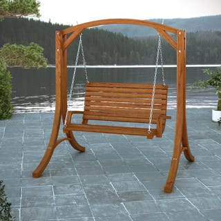 CorLiving Wood Canyon Cinnamon Brown Stained Patio Swing|https://ak1.ostkcdn.com/images/products/9104285/P16291361.jpg?impolicy=medium