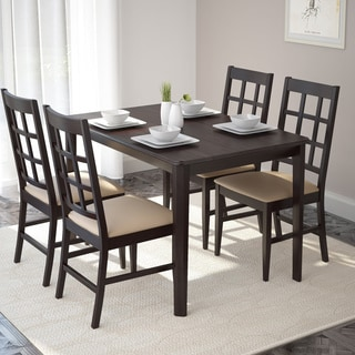 CorLiving Atwood 5-piece Dining Set with Grey Stone Leatherette Seats
