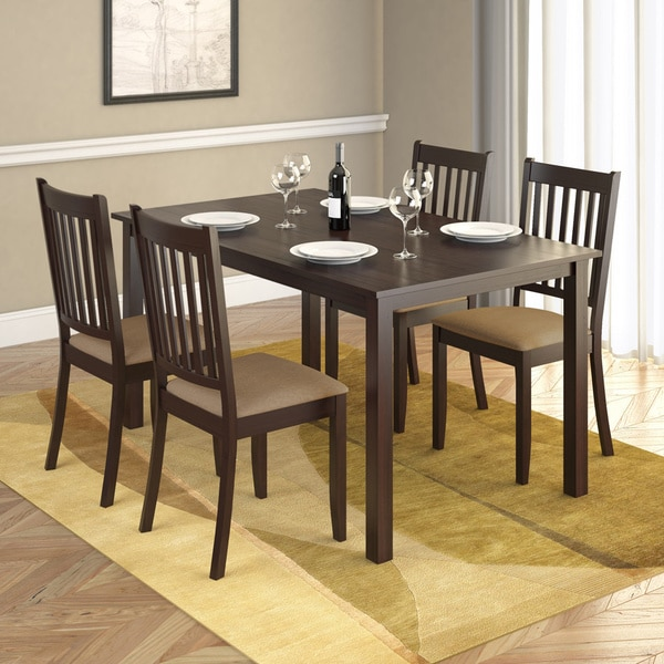 CorLiving Atwood 5 Piece Dining Set With Beige Microfiber Seats