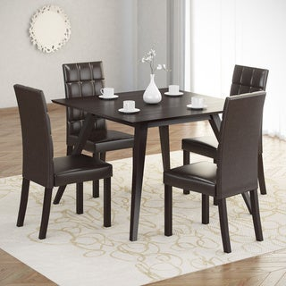 CorLiving Atwood 5-piece Dining Set with Dark Brown Leatherette Seats