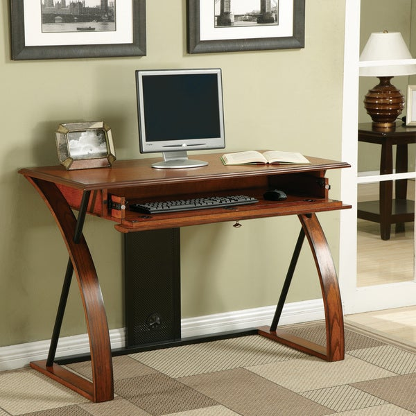 Classic Oak Wood Desk With Keyboard Tray Free Shipping