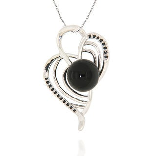 Pearlz Ocean Sterling Silver Black Spinel/ Black Onyx Necklace