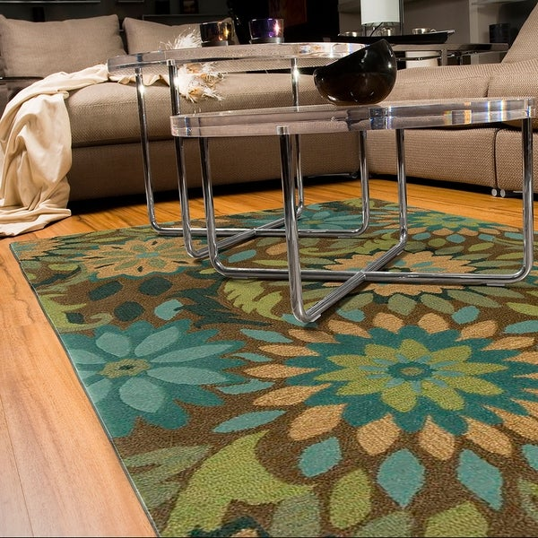 LR Home Dazzle Taupe Floral Area Rug - 5'3 x 7'5