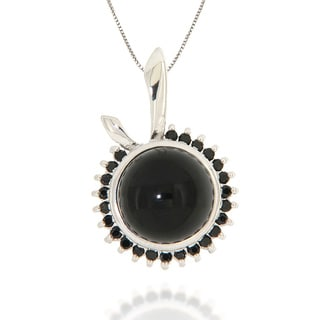 Pearlz Ocean Sterling Silver Black Onyx and Black Spinel Necklace