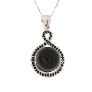 Pearlz Ocean Sterling Silver Black Onyx Cabochon and Black Spinel Pave Necklace