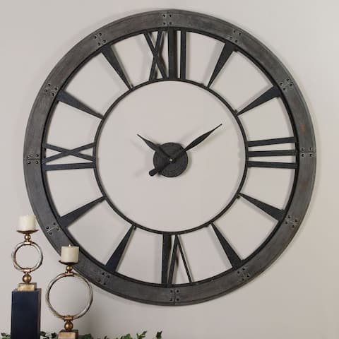 Uttermost Ronan Dark Bronze Large Metal Wall Clock