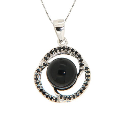 Pearlz Ocean Sterling Silver Black Onyx and Black Spinel Spiral Necklace Jewelry for Womens