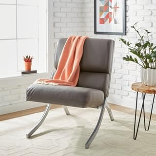Strick & Bolton Rialto Charcoal Bonded Leather Chair