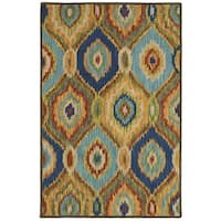 LR Home Hand Tufted Dazzle Blue Multi-colored Wool Area Rug - 7'9 x 9'9