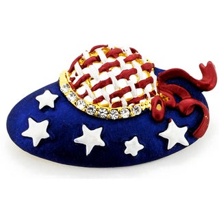 Crystal American Flag July 4th Hat Brooch