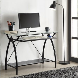 Clay Alder Home Danziger Black Metal Glass Top Desk with Keyboard Tray