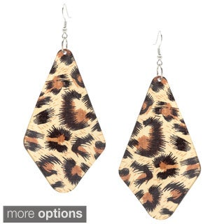 Alexa Starr Animal Print Leopard Lucite Fan Drop Earrings