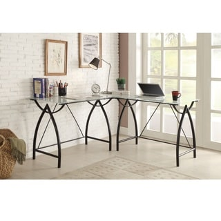 L-shaped Black Frosted Glass/ Metal Corner Desk