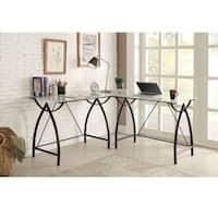 L-shaped Black Frosted Glass/ Metal Corner Desk