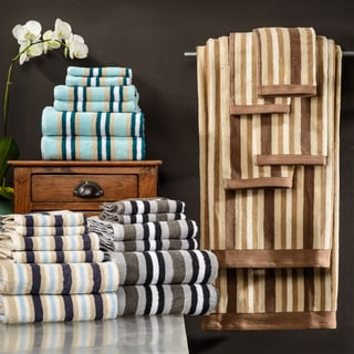 Superior Collection Luxurious Stripes 100-percent Premium Long-staple Combed Cotton 6-piece Towel Set