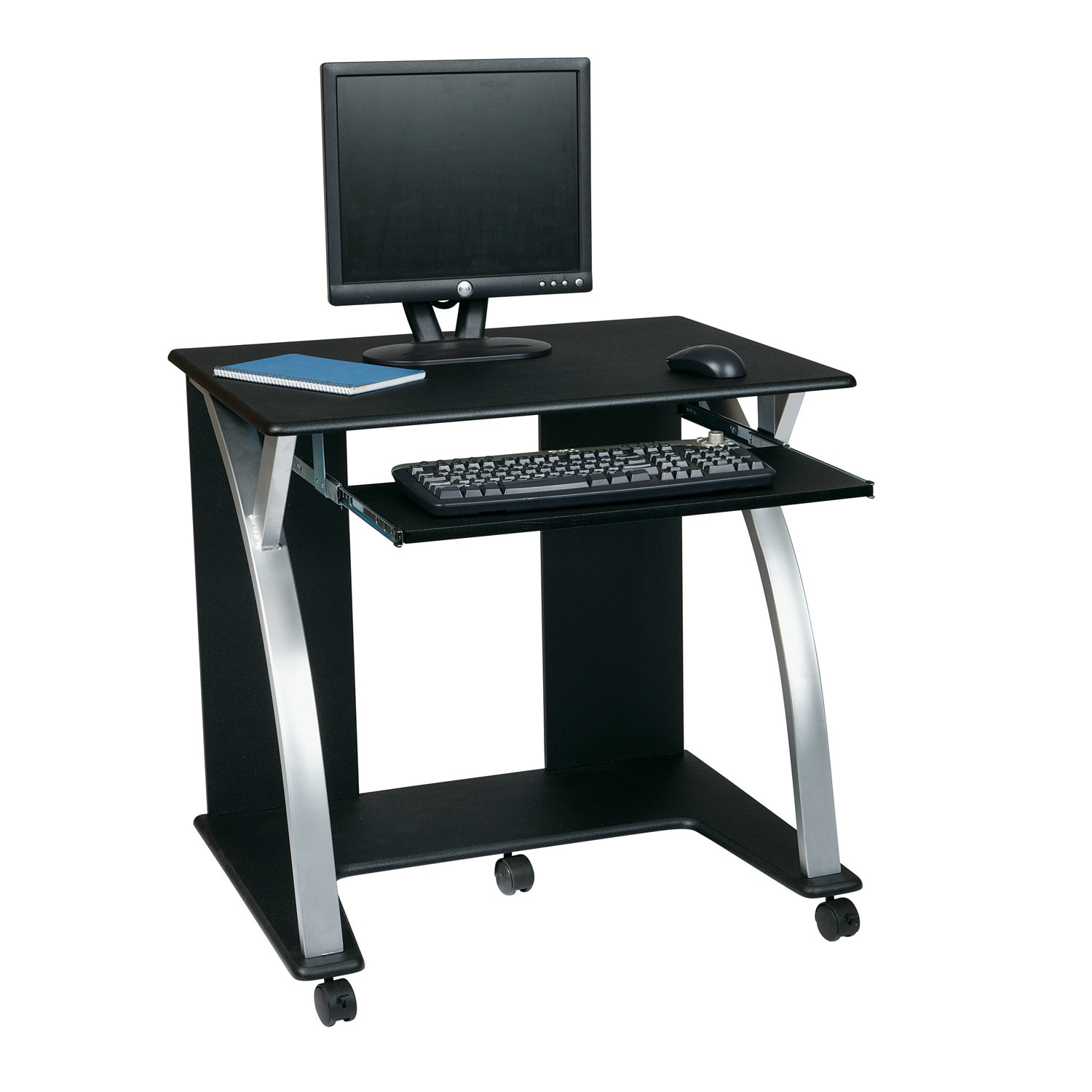 Office Star Products Black/ Silver Rolling Computer Desk ...